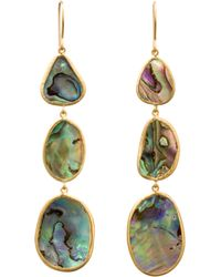 Pippa Small - Yellow Paua Shell Triple Drop Earrings - Lyst