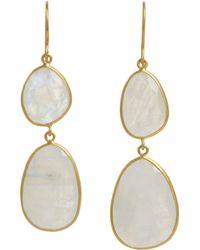 Pippa Small   Metallic Rainbow Moonstone Double Drop Earrings   Lyst