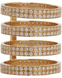 Repossi | White Diamond Gold 4row Berbere Ring | Lyst