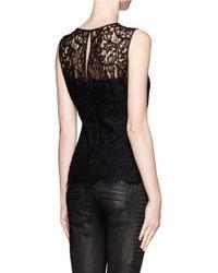 St. John - Black Lace Sleeveless Top - Lyst