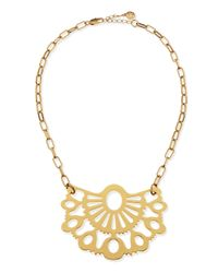 Tory Burch | Metallic Madura Fan Pendant Necklace | Lyst