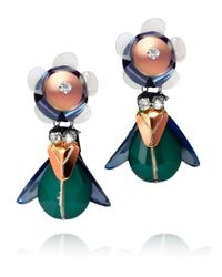 Tory Burch - Multicolor Floral Beetle Earring - Lyst