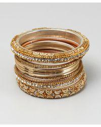 Chamak by Priya Kakkar - Metallic Set Of 11 Gold Glitter And Crystal Bangles - Lyst