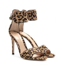 Gianvito Rossi | Multicolor Leopard Print Pony Hair Sandals | Lyst