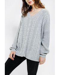 Urban Outfitters   Gray Pins and Needles V-back Sweater   Lyst