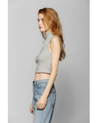 Urban Outfitters - Gray Sparkle Fade Jersey Cropped Top - Lyst