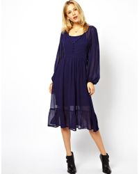 ASOS - Blue Midi Dress with Covered Button Detail - Lyst