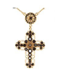 Dolce & Gabbana - Black Bead and Crystalembellished Cross Necklace - Lyst