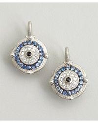 Judith Ripka | Metallic Blue Sapphire with White Sapphire Evil Eye Earrings | Lyst