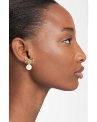 kate spade new york | Metallic Skinny Mini Bow Faux Pearl Drop Clip Earrings | Lyst