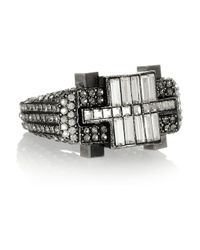 Lanvin | Metallic Silver Tone Swarovski Crystal Ring | Lyst