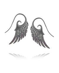 Noor Fares | Gray Galactic Garden Wings Rhodiumplated Sterling Silver Multistone Earrings | Lyst