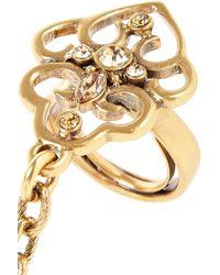 Oscar de la Renta - Metallic Goldtone Crystal Finger Bracelet - Lyst