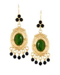 ASOS - Green Circle Beaded Drop Earrings - Lyst