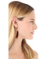 Serefina - Brown Feather Earrings Black - Lyst
