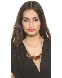 Serefina - Brown Feather Bib Necklace - Lyst