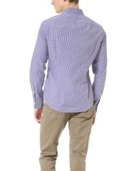 Vince - Purple Small Check Dress Shirt for Men - Lyst