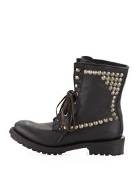 Ash - Ralph Studded Laceup Boot Black - Lyst