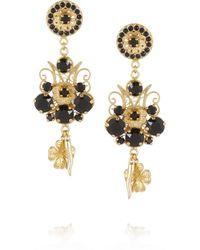 Dolce & Gabbana - Metallic Pizzo Nero Goldplated Swarovski Crystal Clip Earrings - Lyst