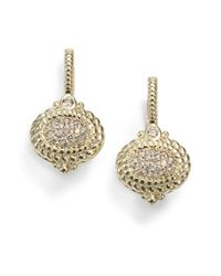Judith Ripka | Metallic Pave Diamond 14k Yellow Gold Drop Earrings | Lyst