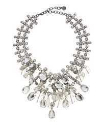 R.j. Graziano | Gray Rhinestone Statement Necklace Cleargunmetal | Lyst