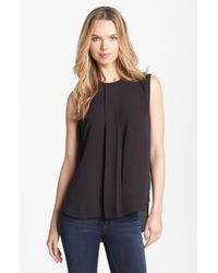 Vince Camuto | Black Center Pleat Sleeveless Blouse | Lyst