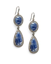 Bavna | Metallic Tiered Sapphire Pave Diamond Drop Earrings | Lyst