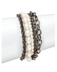 Slane - Gray 7mm8mm Oval Freshwater Pearl Blackened Sterling Silver Chain Bracelet - Lyst