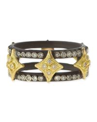 Armenta - Black Midnight Double Cravelli Cross Ring with Diamonds - Lyst