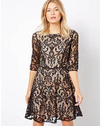 ASOS - Black Oasis Lace Skater Dress - Lyst