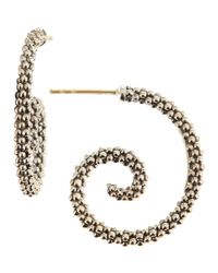 Lagos - Metallic Caviar Beaded Silver Hoop Earrings - Lyst