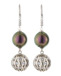 Majorica - Purple Tahitian Pearl and Cz Cage Earrings - Lyst