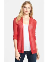 NIC+ZOE | Red Mesh Knit Cardigan | Lyst