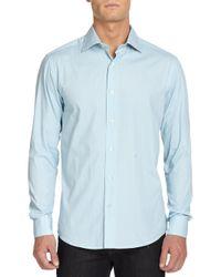Saks Fifth Avenue Black Label | Blue Dotted Dress Shirt for Men | Lyst