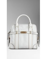 fc8a856563dd Lyst - Burberry Medium Grainy Leather Portrait Tote Bag in White