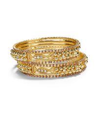 Chamak by Priya Kakkar - Crystal Sectioned Bangle Bracelet Set Purple - Lyst