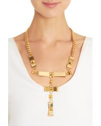 Fallon - Metallic Brass Bow Choker - Lyst