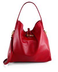 Gucci - Red Hip Bamboo Deer Leather Shoulder Bag - Lyst