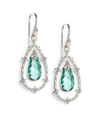 Judith Ripka | White Sapphire Green Drop Sterling Silver Earrings | Lyst
