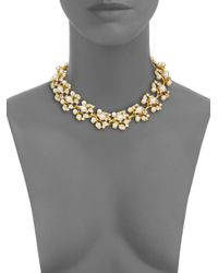 Kenneth Jay Lane - Metallic Faux Pearl Jeweled Vine Necklace - Lyst