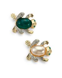 Kenneth Jay Lane - Frog Pin Setgreen Faux Pearl - Lyst
