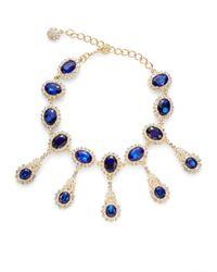 Kenneth Jay Lane - Blue Jeweled Drop Necklace - Lyst