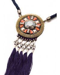Matthew Williamson | Blue Fringe Medallion Necklace | Lyst