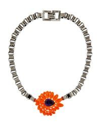 Mawi - Metallic Hematiteplated Crystal Flower Necklace - Lyst