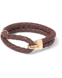 Miansai - Red Beacon Woven-Leather And Metal Bracelet for Men - Lyst