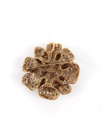 Oscar de la Renta | Blue Flower Brooch With Chain | Lyst