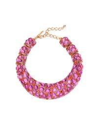 Oscar de la Renta | Pink Cabochon Collar Necklace | Lyst