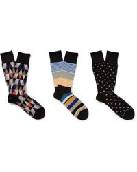 Paul Smith | Three-Pack Striped Cotton-Blend Socks for Men | Lyst