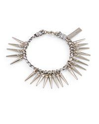 Rebecca Minkoff - Metallic Spiky Braided Leather Bracelet Silver Tone - Lyst