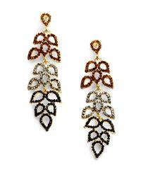 Sparkling Sage - Brown Cascading Petal Earrings - Lyst